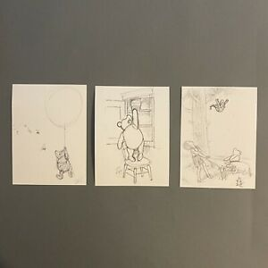 WINNIE THE POOH Sketch Print BUNDLE 3pk (14x19cm) CHILDRENS NURSERY