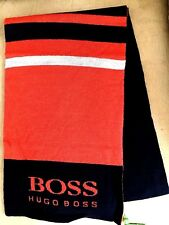 NWT Hugo Boss Men's Orange Navy Blue Gray Wool Blend Scarf Shawl Wrap