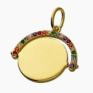 Gold Spinner Pendant  Rainbow Sapphire Yellow Gold on 925 Sterling Silver