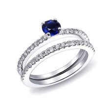 Stackable Blue Sapphire Ring 0.58 carats and Diamonds set in 14KWG USA made