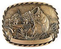 Vintage Brass Award Design Metals Belt Buckle Fishing Bass