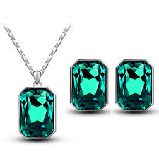 Emerald Crystal Green Rectangle Jewellery Set Stud Earrings & Necklace S768