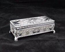 Rectangular Silver Color Jewellery Trinket Treasure Chest / Box Design #3