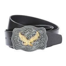 Classic Mens Western Leather Belt Waistband Metal Eagle Buckle Rodeo Texas