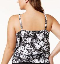 Swim Solutions Plus Size White Snow Blouson Tankini Top, US Size 24