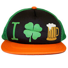 St. Patrick's Day I Shamrock Beer Snapback Hat Clover leaf shamrock gold  irish