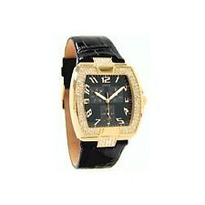 New Guess Ladies Black Patterned Leather Crystal Watch U13520L3 new with tag