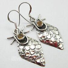 """Sterling Silver Oxidized Art Earrings 1.7"""" Citrine Gem Bohemian Jewelry ! 925"""