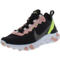 Nike Womens React Element 55 Black Mesh Running Shoes 8.5 Medium (B,M) BHFO 8421