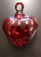 Red Blown Glass Heart Ornament – Medium