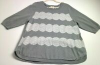 St. John's Bay Women's ¾ Sleeve Pullover Sweater 2X Plus Gray White Lace Crew
