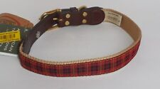 "Auburn Leathercrafters American Traditions Red Plaid Dog Pet Collar 18""- 22"" New"