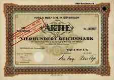 Vogt & Wolf AG 1928 Gütersloh Dr. Oetker Bielefeld Wurst Fleischkonserven 400 RM