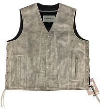 High Mileage Mens Zipper and Snap Closure Leather Club Vest with Black Paisley Lining