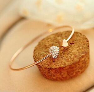Women Gold Rhinestone Love Heart Bangle Cuff Bracelet Lady Fashion Jewelry Gifts