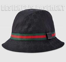 GUCCI black-on-black GG canvas L FEDORA trademark Logo WEB ribbon hat NWT Authen