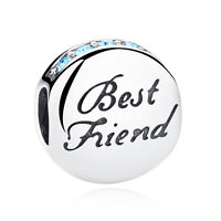 Authentic 925 Sterling Silver Best Friends Forever Charm Bead fit Bracelet Chain