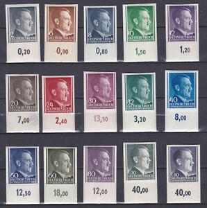 Generalgouvernement Hitler Ungezähnt Lot 15 Werte Unterrand LESEN !!!!!