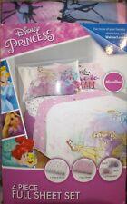 Disney Princess 4pc Microfiber Full Size & Flat Sheet Set 2 Pillowcases
