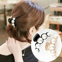Women Pearl Rhinestone Headdress Hairpin Clip Hair Claw Accessories SP