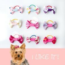 9 Pink x Pet Dog Cat Hair Bows Clips Barrette Rubber