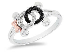 Mouse Black Diamond Ring In 925 Silver Mickey & Friends Mickey Mouse & Minnie