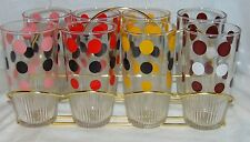 """8 POLKA DOTS *6""""- 1 PINT""""  SOUR CREAM GLASSES* BROWN*YELLOW*PINK*RED* w/CARRIER*"""