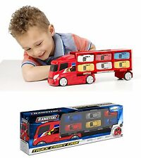 TEAMSTERS DIECAST Six Car Transporter Truck Lorry Children Boy Toy Red Vehicle