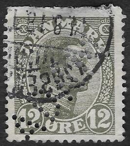 Denmark 1918 12 ore Gray Green King Christian X Sc# 101 used (JBX)