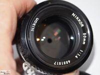 Nikon Nikkor 50mm 1:1,4 Ai Objektiv F-mount Ø 52 (=80mm beim APS-C Sensor)