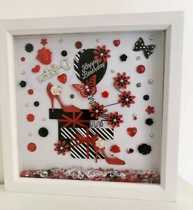 Red, black, white deep box picture frame gift for 18th birthday female