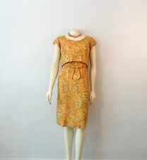 Vintage Dress 60s Cocktail Hostess Yellow Orange Floral Spring Summer M