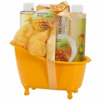 Bath Body & Spa Gift Set/Basket in a tub for Women, in Mango Pear Fragrance