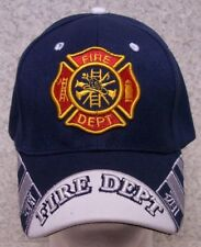 Embroidered Baseball Cap Fire Department Emblem NEW 1 hat size fits all blue