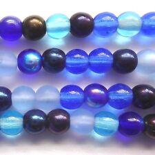 100 Perline Ceche DRUK rotonda 4mm Blu Tono