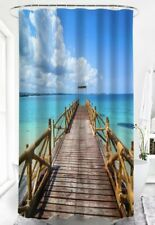 "NEW Rustic Wooden Dock Pier Into Blue Ocean Shower Curtain w/Hooks 71""x71"""