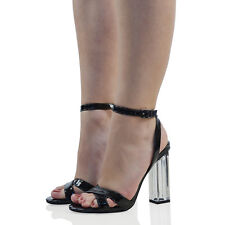 91bbeb00140 Womens High Clear Heel Ankle Strappy Sandals Ladies Buckle Prom Party Shoes  Size UK 5