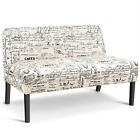 Armless Loveseat Sofa Fabric Settee Bench Bed Chair Wooden Leg Living Room Home