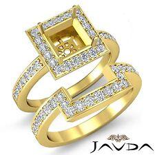 Anillo de Compromiso Diamante Princesa Set Nupcial 14k Oro Amarillo Halo