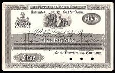 1885 NATIONAL BANK of IRELAND £5 PROOF NOTE  * gEF * NA-43 *