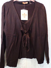 Hope by Kristian Alfonso Tie Front Sweater Medium Brown NWT