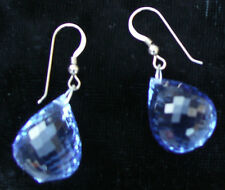 New Nwot Huge dangling 64+ carat Genuine Blue topaz 14k gold & Silver earrings