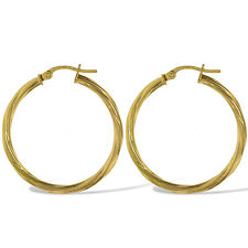 375 9CT GOLD ROUND 30X2MM CABLE TWISTED TUBE HOOP CREOLE SLEEPER EARRINGS BOX