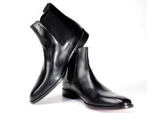 IVAN TROY Chelsea Black Boot Handmade Men Italian Leather Dress Boot/Ankle Boots