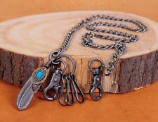 """30"""" Turquoise Feather Pendant Basic Biker Trucker Key Jean Wallet Chain Silver"""