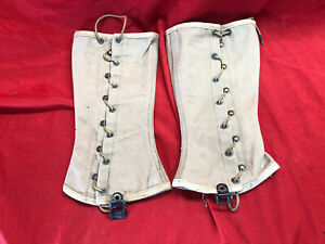 WW2 Pair Canvas US Spats Gaiters Lace Up Leggings Genuine Items With Laces