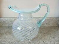 "Vintage Fenton Glass Aqua French Opalescent 6 3/4"" Spiral Optic Pitcher 1990's"