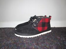 Ugg Neumel Chukka Boots Black Plaid Suede Wool Fur Redwood Mens Size 9