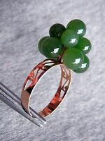 14K Solid Yellow Gold Jade 5-6mm Cluster Ball Band Ring Size 6.75