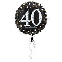 "HOLOGRAPHIC SPARKLING AGE 40 BIRTHDAY 18""(45CM) FOIL BALLOON ANAGRAM FOIL BAL..."